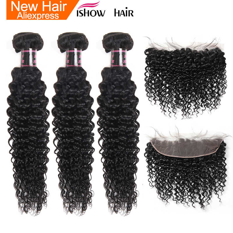 Ishow Malaysian Hair Bundles With Closure Curly Bundles With Frontal Non Remy Human Hair Bundles With Closure 13X4 Lace Frontal