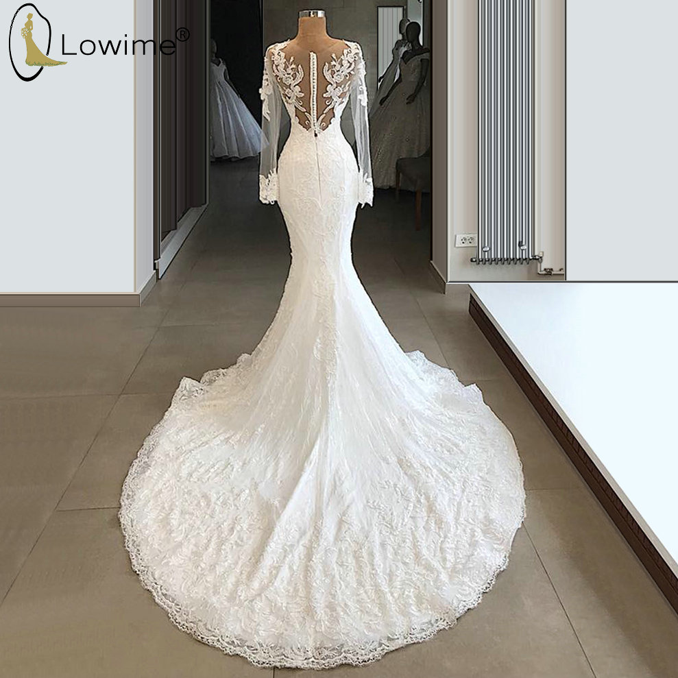 Applique Elegant with Sleeve Bridal Mermaid Dresses Wedding Long De Illusion Train Court Robe Lace Mariee Gowns