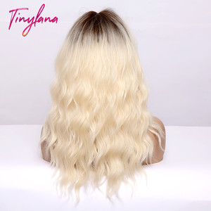Image 5 - TINY LANA Medium Length Ombre Blonde Golden Synthetic Wigs Natural Hair  with Bangs Wavy Heat Resistant Fibre Cosplay Women wigs