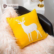 Liv-Esthete Fashion Deer Embroidery Decorative Yellow Cushion Covers Cute Pet Square Pillow Cover For Sofa Bed Car Home 45x45cm home decorative embroidered cushion cover black white canvas cotton square embroidery pillow cover 45x45cm for sofa living room