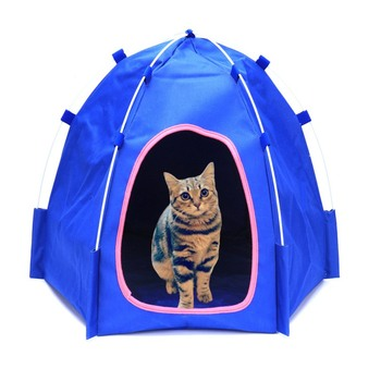 Portable folding pet dog tent house breathable print pet cat house with net mesh small cat dog camping house for outdoor