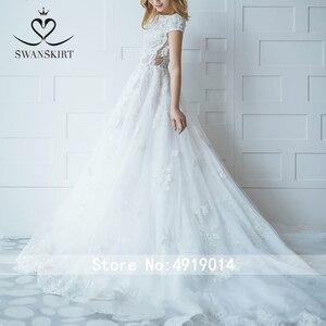 Image 3 - ĐẦM REN Vintage Váy Cưới Công Chúa 2020 Swanskirt Appliques Chữ A ĐÍNH HẠT Triều Đình Đoàn Tàu Cô Dâu Bầu Ảo Ảnh Áo Dây De Mariee I181