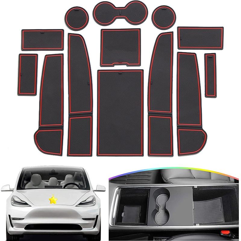 Резиновый противоскользящий коврик для Tesla Model 3 модель3 2021, накладка на чашку с канавками для двери, подушка для телефона, подставка под воро...