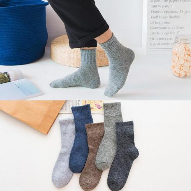 1 Pair Winter Warm Socks For Men Women Solid Color Thick Wool Rabbit Hair Socks Snow Against Cold Warm Cotton Men's Socks