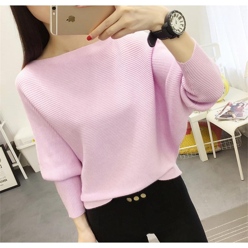 Autumn And Winter New Women Sweaters Bats Shirt  Slash Neck Short Paragraph Plus Size Female Knit Pullovers