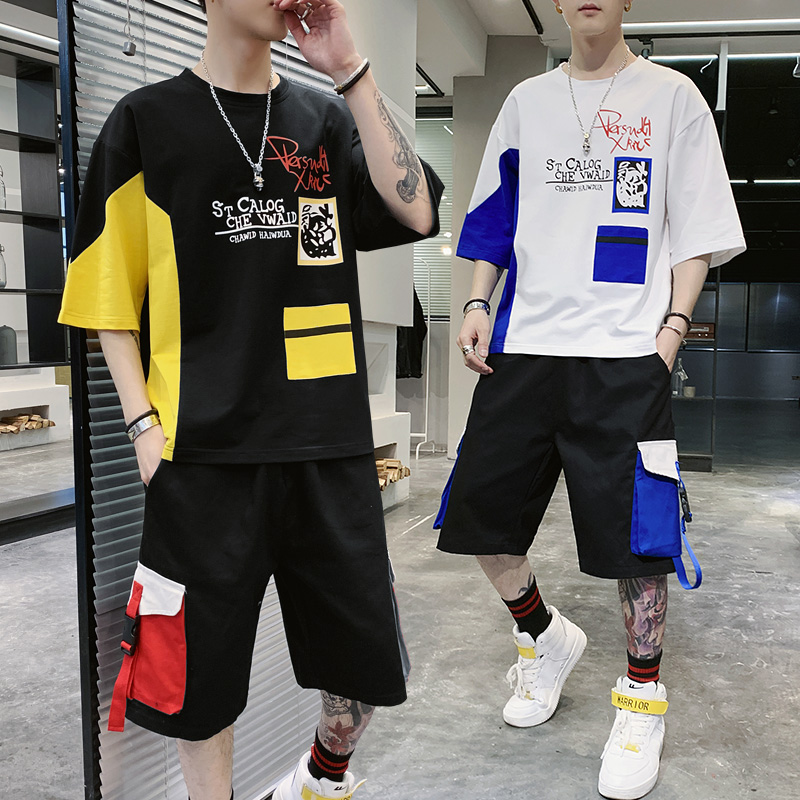 New Summer Men Loose Sets Hip Hop Style Cargo Tooling Shorts+Short Sleeve T-shirt 2 Pieces Sets Men Cotton Casual Sets Size 3XL