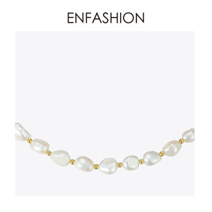 Image 3 - ENFASHION Natural Pearl Choker Necklace Women Gold Color Stainless Steel Irregular Pearl Necklace Fashion Femme Jewelry P193050