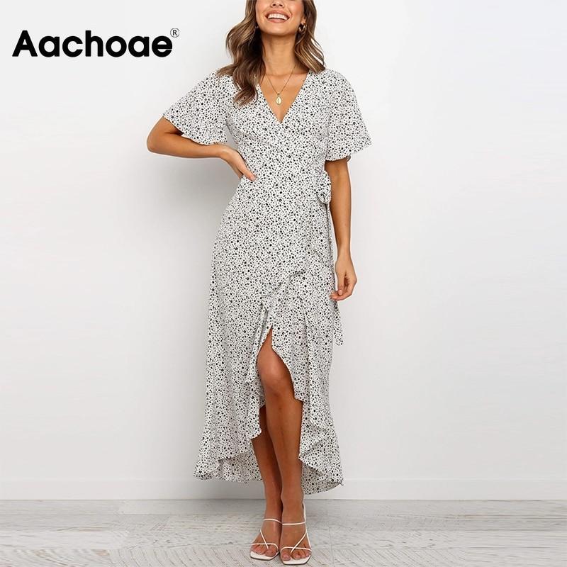 Aachoae Summer Women Printed Long Maxi Dresses 2020 Ruffles Short Sleeve Casual Wrap Dress V Neck Split Boho Beach Dress Vestido