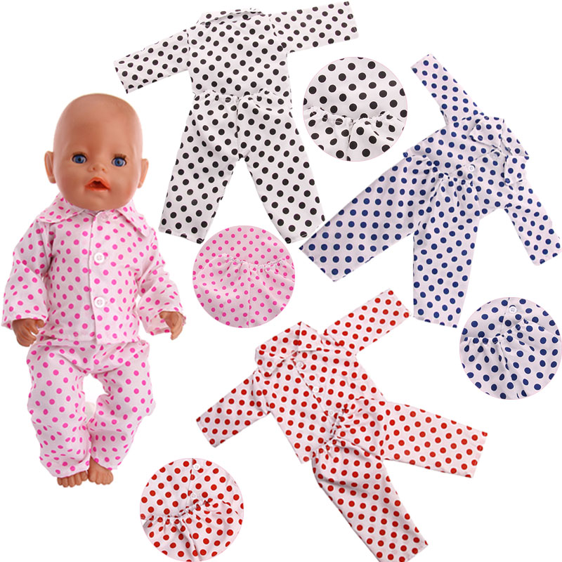 Clothing Polka Dot Girl Pajamas Suitable 18-Inch American Dolls And 43cm Baby Doll Clothes Accessories, Children's Best Gifts