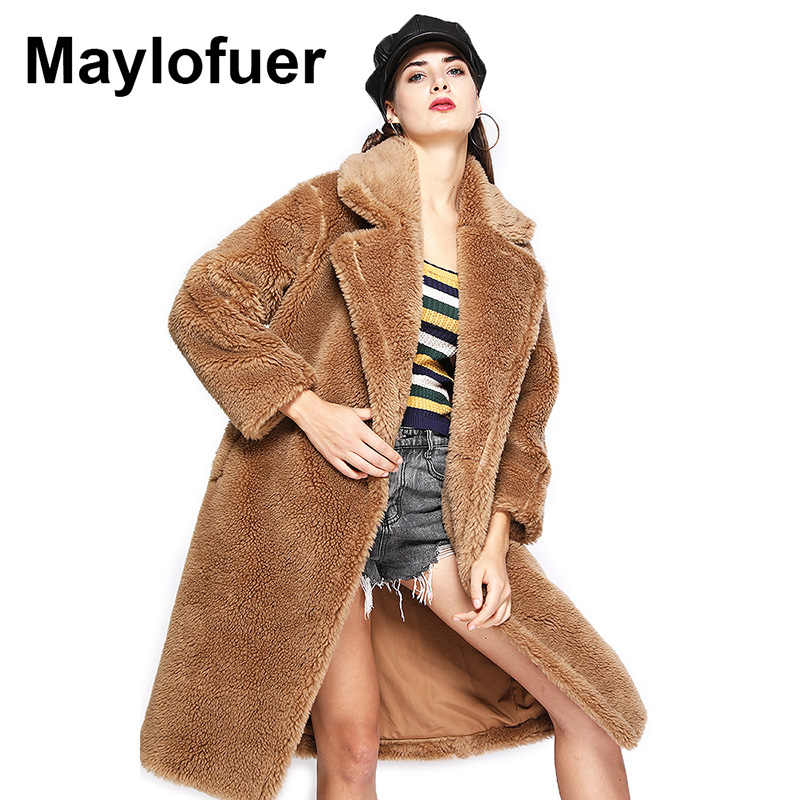 Maylofuer Teddy Style New Oversize Real Lamb Fur Coat Women Fur Winter Natural Genuine Wool Sheep Fur Long Coats Loose Jackets
