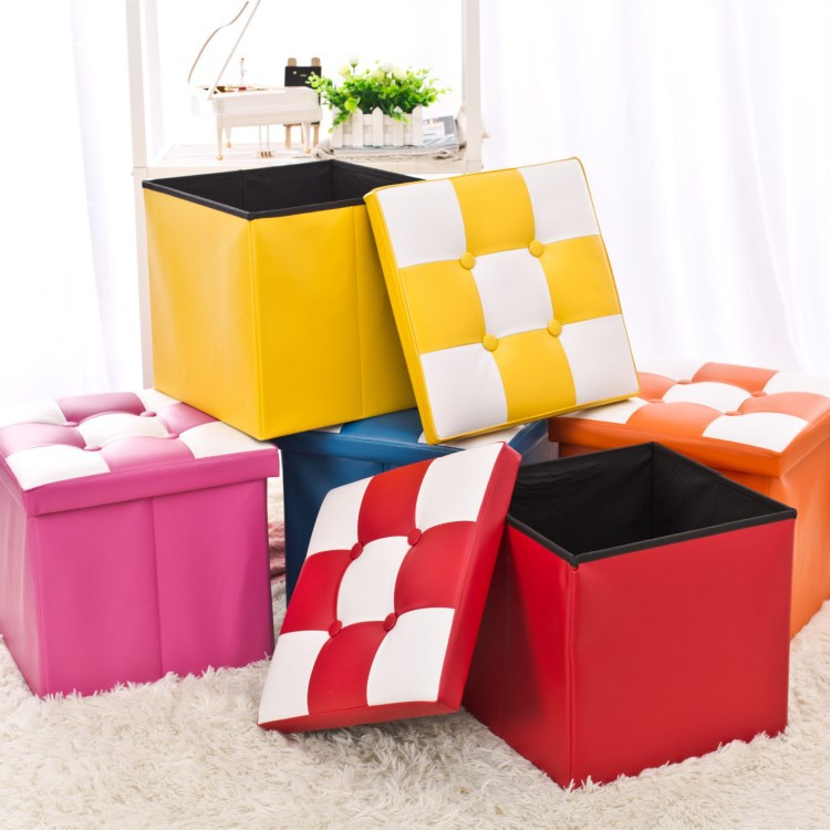 Manufacturers Profession Production PU Leather Square Enhanced Version of Box People Foldable Sofa Stool Organizing Box Shoes Bo|  - title=