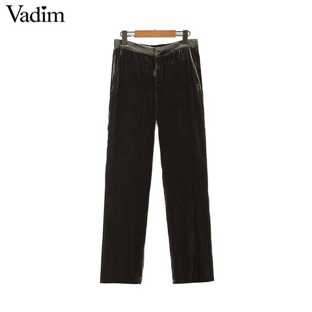 Vadim feminino elegante veludo calças compridas elatic cintura zíper voar bolsos escritório wear sólido casual tornozelo comprimento calças kb207