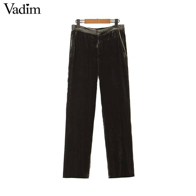 Vadim women elegant velvet long pants elatic waist zipper fly pockets office wear solid casual ankle length trousers KB207