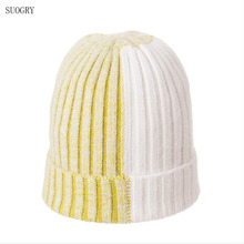 SUOGRY New Simple Rabbit Fur Beanie Hat for Women Winter hat Skullies Warm Falls Cap Gorros Female Wool Knitted Beanies