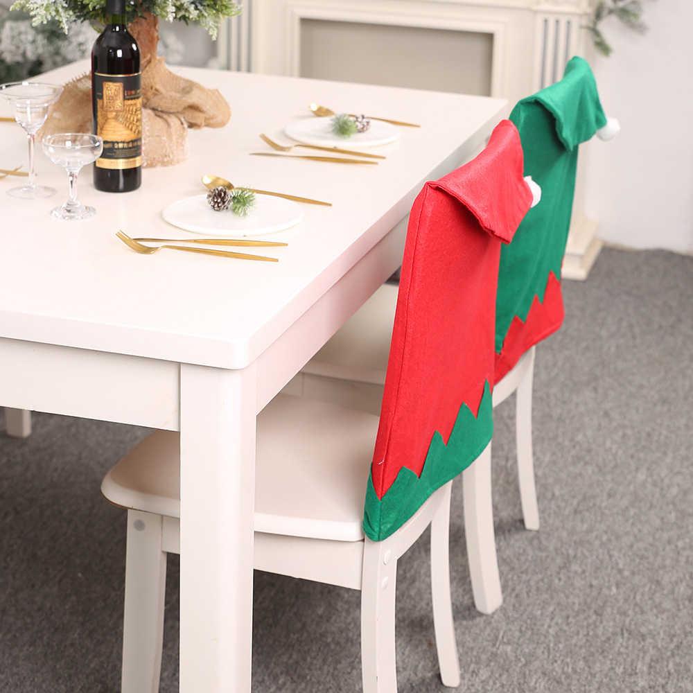 Tampas Da Cadeira Tampa Da Cadeira Mesa Da Cozinha do Duende do natal Xmas Holiday Party Decoração Verde Vermelho Grande Chapéu Cadeira Fezes
