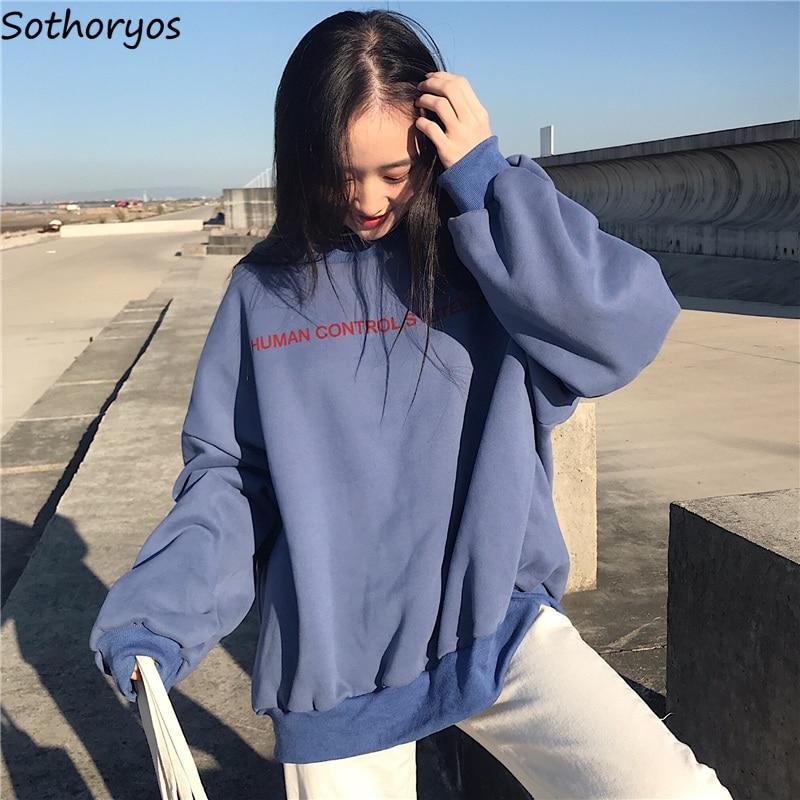 Hoodies Women Simple Fashion Pullover O-Neck Letter Print Streetwear Large Size Plus Velvet Casual Soft Loose Womens Sweatshirt
