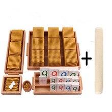 Montessori contas material conjunto banco jogo com número cartões brinquedos educativos para o sistema decimal prática crianças matemática brinquedo ferramenta de aprendizagem