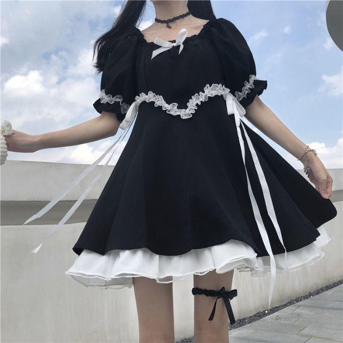 QWEEK Gothic Lolita Dress Soft Girls Sweet Lolita Style Kawaii Cute Lace-up Puff Sleeve Dress Princess Fairy Goth Dress 2021 7