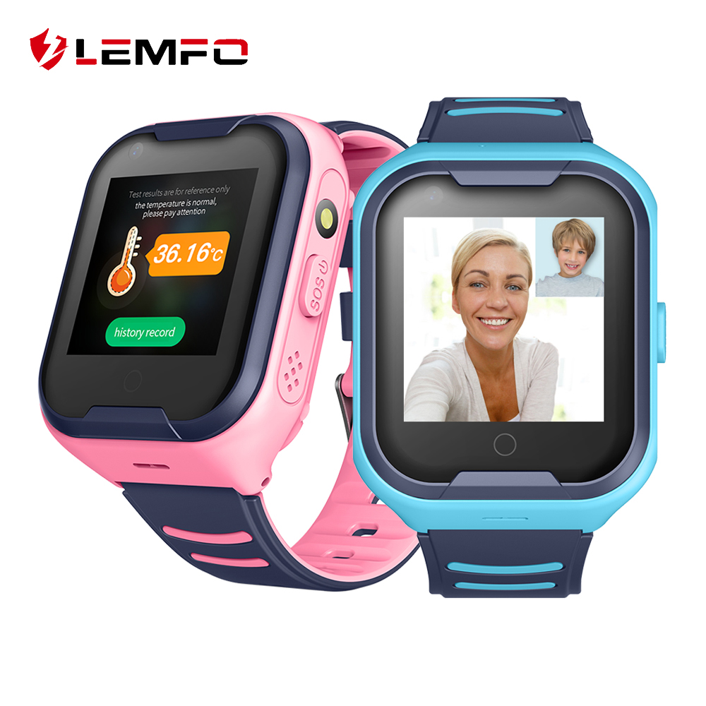LEMFO 2020 4G GPS Smart Watch Kids Body Temperature Monitoring 700Mah Battery Video Call Smartwatch For Children Phone Watch