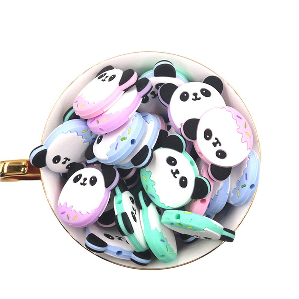 10Pcs Silicone Panda Baby Teether Beads Dummy Pacifier Dental Care Teething Toy Baby Teether Silicone Chewy Toys Panda Design