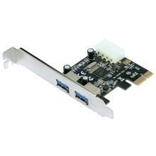 2-Port Superspeed Usb 3.0 Pci-E Pcie Pci Express 4-Pin Ide Expansion Connector Adapter Pci-E To Usb3.0 Add On Card With Low Prof(China)