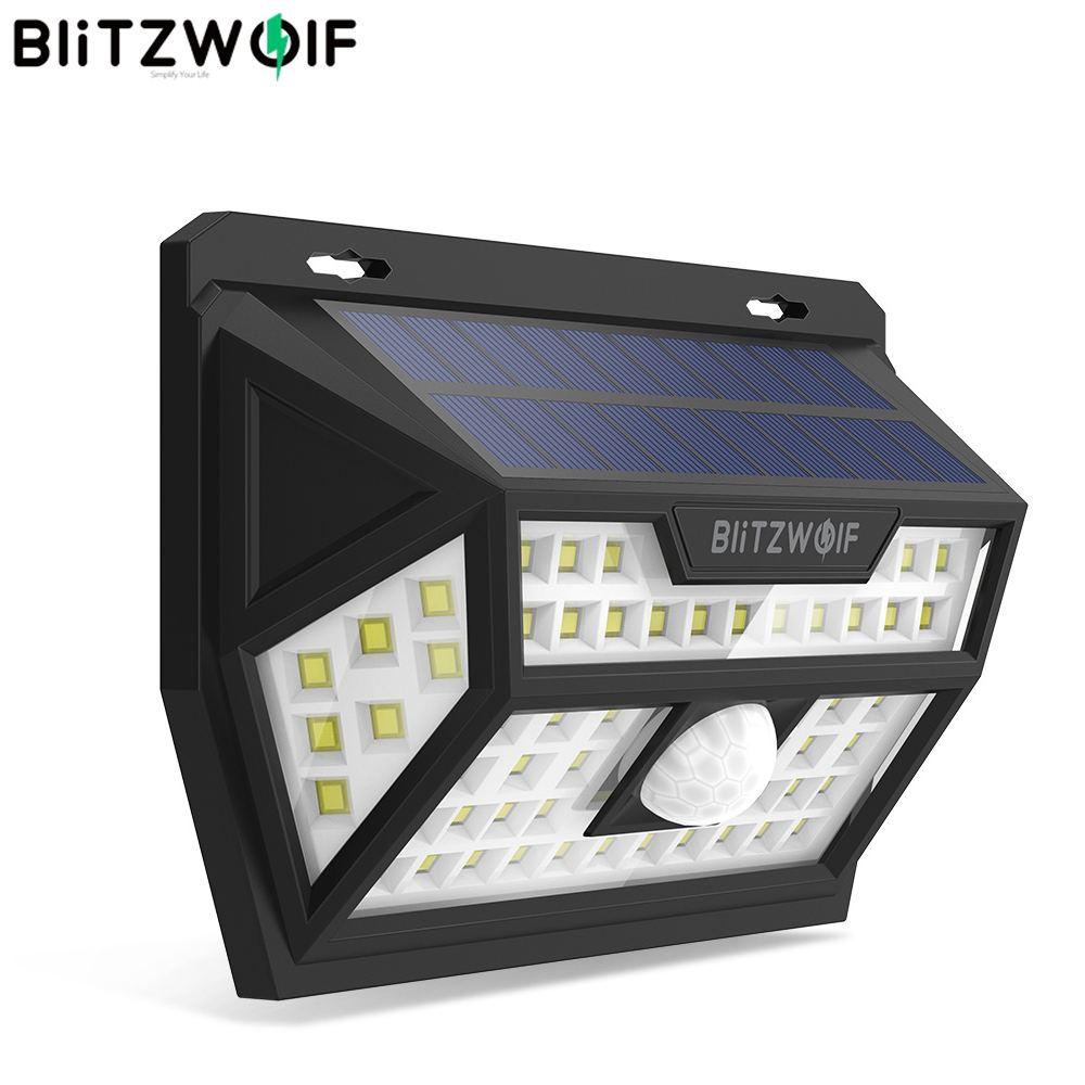 Blitzwolf BW-OLT1 Solar Powered 62 LED PIR Motion Sensor Wall Light Lamp Wide Angle Waterproof For Outdoor Garden Path Yard
