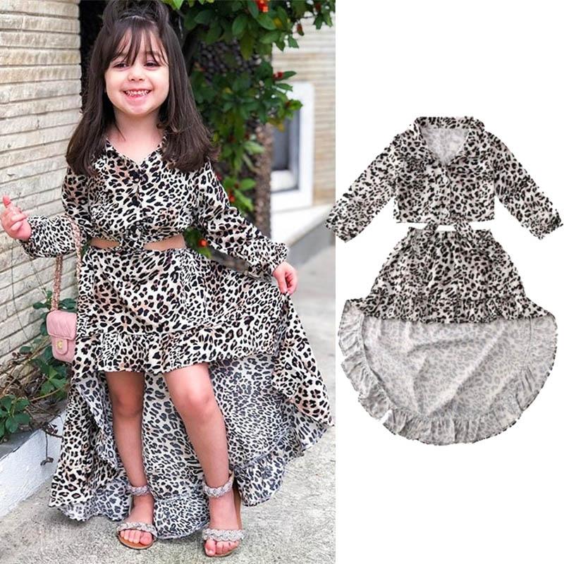 Toddler Baby Girls Leopard Dress Outfits Long Sleeve Ruffled Princess Dress Skirts Set Fall Clothes
