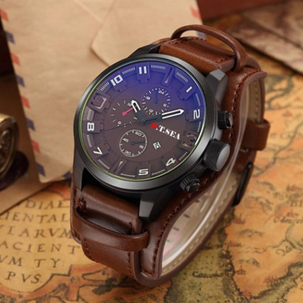 2019 New Luxury O.T.SEA Brand Leather Watch Men Military Sports Quartz Wristwatch With Date Women Dress Clock Relogio Masculino