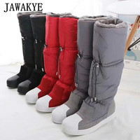 Winter cold resistant Waterproof snow boots women Mid Calf Plush Boots Casual Flat shoes Botas Feminine wool long boots