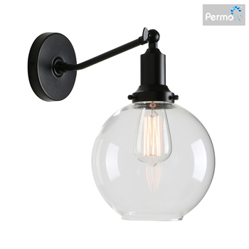 """Permo Industrial Vintage Slope Pole Wall Mount Single Sconce with 7.9"""" Globe Round Clear Glass Shade Wall Sconce Light Lamp Fixt"""