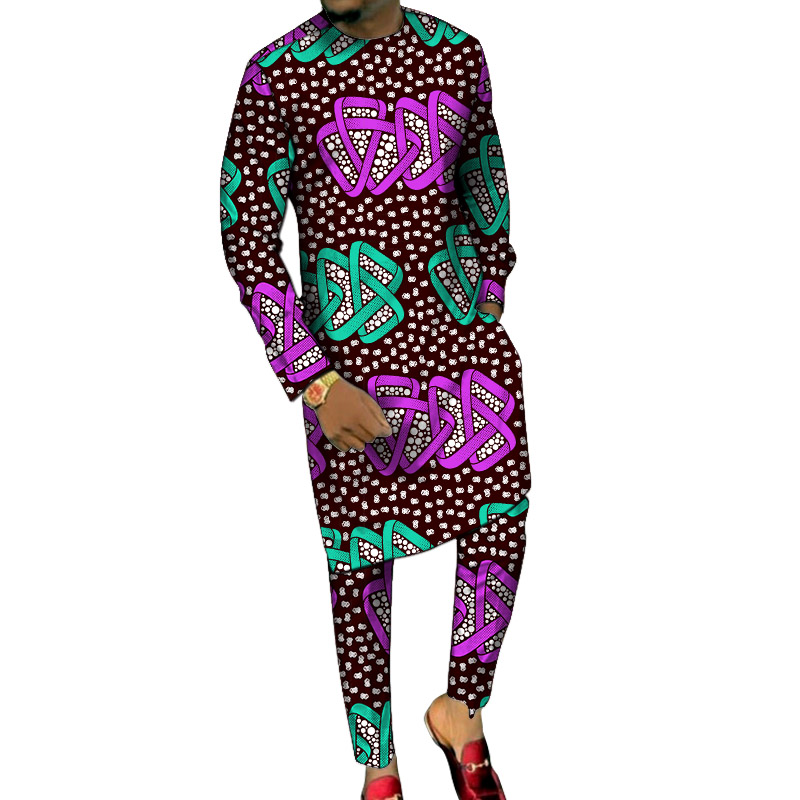Dashiki Print Men's Long Shirts+Trousers Custom Made Pant Sets Ankara Fashion Male Groom Suits Plus Size African Party Clothes