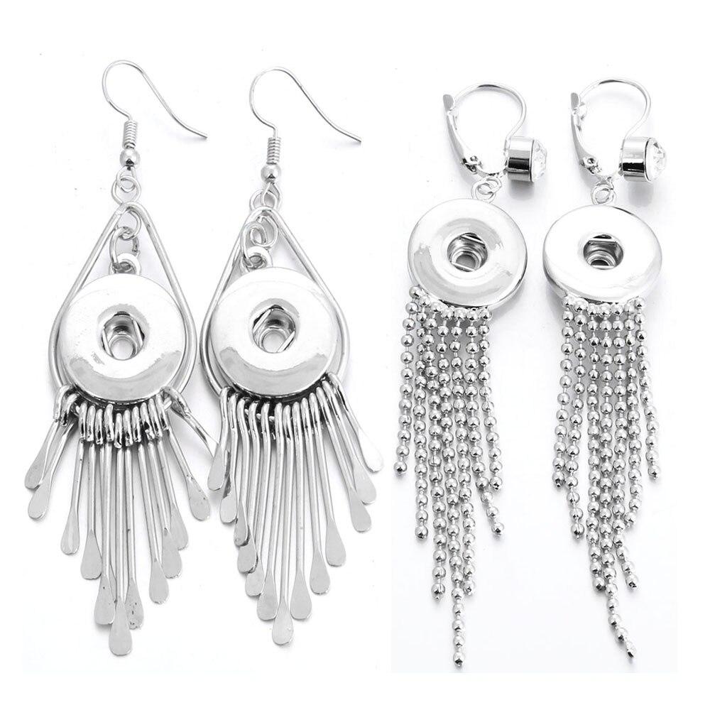 Moda snap jóias 18mm metal cristal snap botão brincos com borlas longas metal balançar brinco para mulher