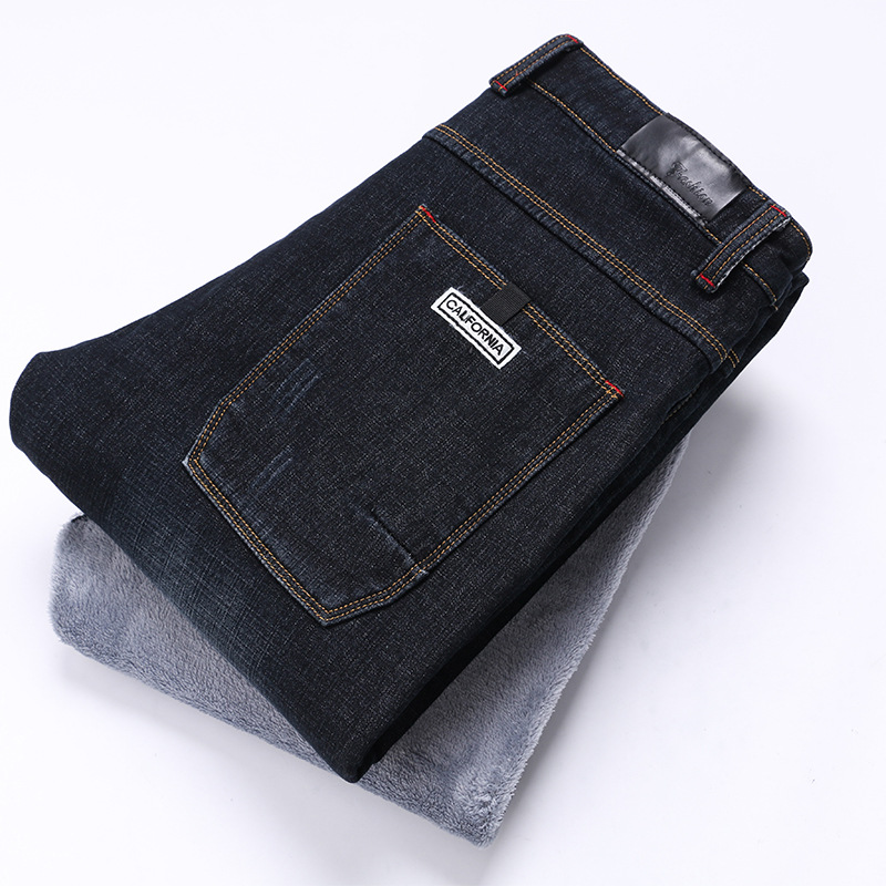 Winter Brand MEN'S Jeans Genuine Product Youth Loose-Fit Pencil Pants Business Brushed And Thick Elasticity Black And White With