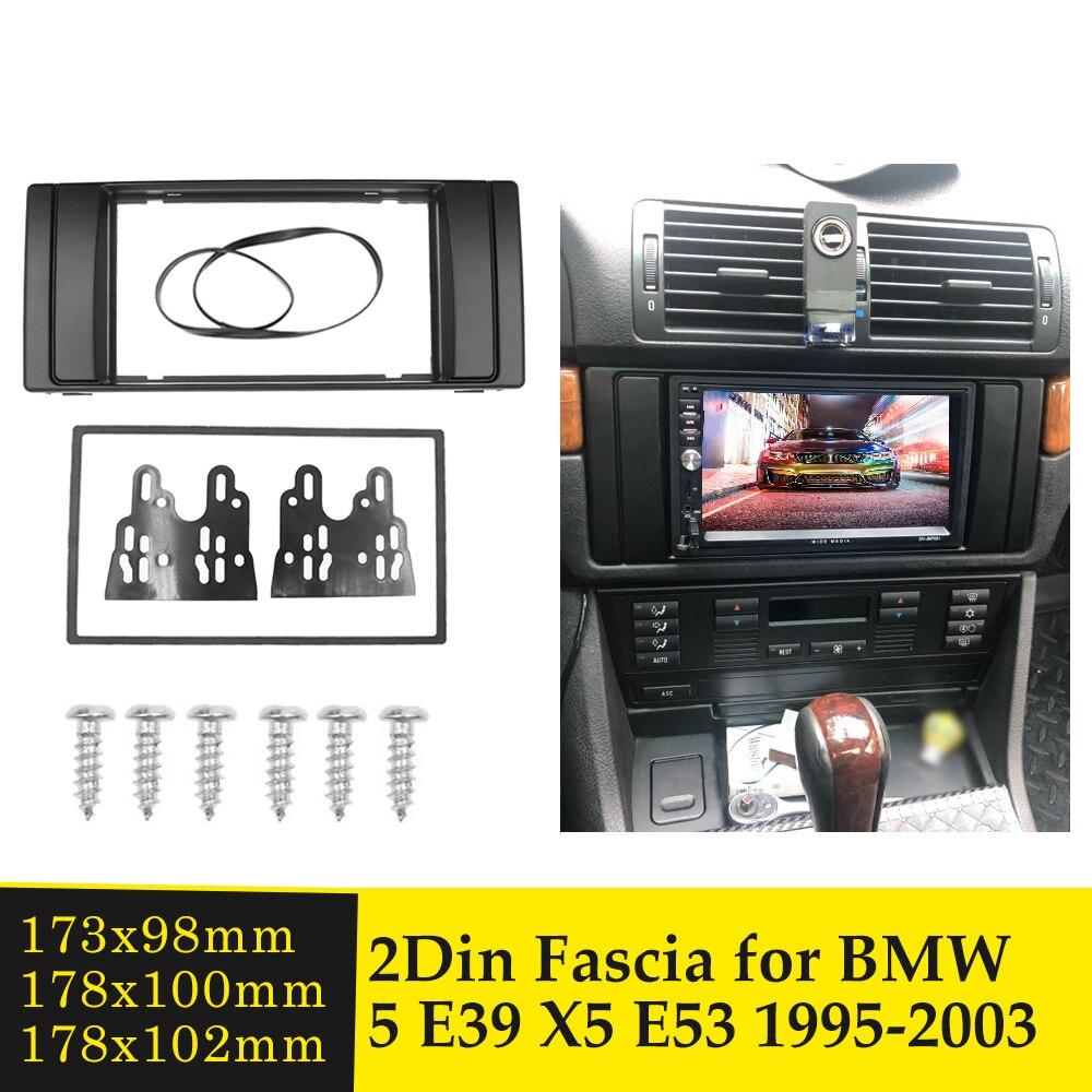 Montagem estereofônica do quadro do rádio do carro de 2din para bmw série 5 e39 x5 e53 1995-2003 guarnição instalar painel kit adaptador placa moldura
