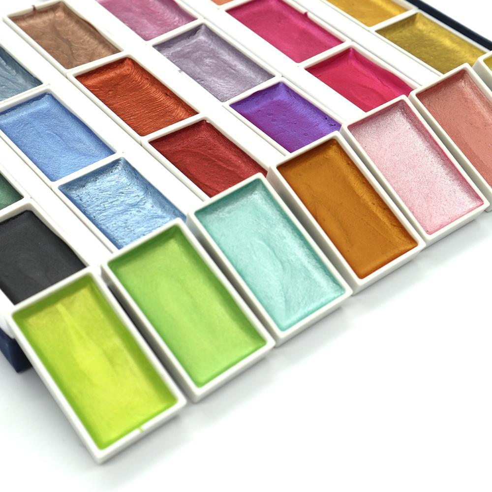 SeamiArt 24 colores Semi-seco brillo metálico acuarela pintura conjunto con caja de regalo artista acuarela perla pigmento para suministros de dibujo Pluma rotuladora de aire metálica de 10 colores, pluma de pincel colorida DIY, pintura permanente impermeable de Metal, dibujo aceitoso, Manga, material de arte escolar