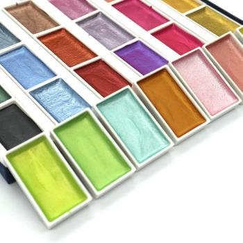 SeamiArt 24Color Semi-Dry Glitter Metallic Watercolor Paint Gift Box Set Artist Watercolor Pearl Pigment for Drawing Supplies