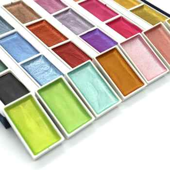 SeamiArt 24Color Semi-Dry Glitter Metallic Watercolor Paint Gift Box Set Artist Watercolor Pearl Pigment for Drawing Supplies - DISCOUNT ITEM  30 OFF Office & School Supplies