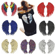 DIY Big Wings Sequin Stripes 1 Pair Wings Patch Embroidered Patches For Clothes Iron Sew On Patches Stripes On Clothes Badges