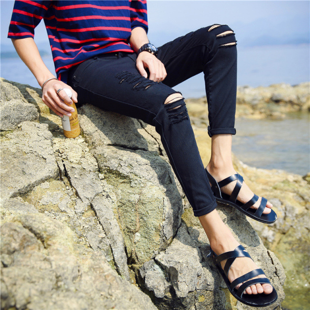 MEN'S Jeans Summer Thin Section Elasticity Denim (Ankle-length Pants) Korean-style Black Ripped-Style Fashion Man Skinny Pants