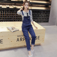 Denim Jumpsuits Women Spring Solid Navy Blue Daily Overalls Womens Office Lady E