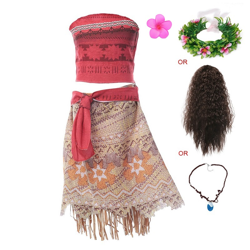 VOGUEON Moana Adventure Outfit Girls Summer Vaiana Fancy Dress Up Clothes Children Birthday Party Photography Princess Costume