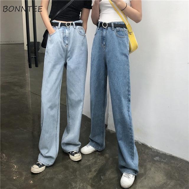 ג ינס נשים Loose גבוה מותן אביב קיץ אופנתי קוריאני סגנון פשוט כל התאמה מקרית Streetwear Ulzzang נשים מכנסיים שיק