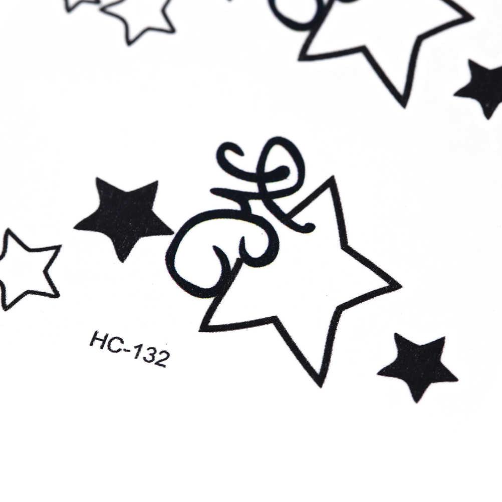 Beş köşeli yıldız dövme zincir kol kız küçük boyutlu dövme çıkartma flaş dövme sahte dövmeler Tatouage su geçirmez geçici dövme