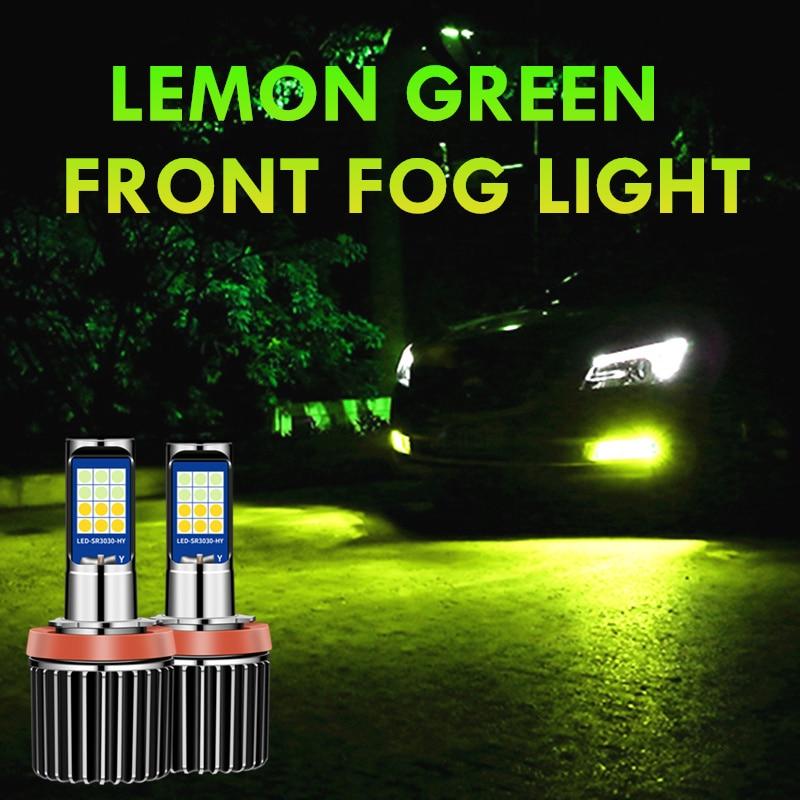 2X 2020 Новый лимонно-зеленый H11 Светодиодный противотуманный светильник, лампы H8 H9 HB3 9005 HB4 9006 H3 H27 881, светодиодный, белый, желтый, 12 В, ДХО, Автомо...