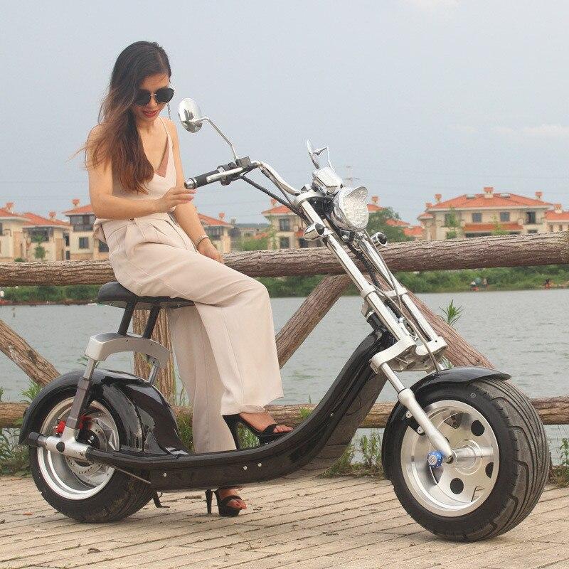 Elektrický skútr Citycoco Two Wheels Elektrický skútr Big Wheels 60V 1000 W Harley Elektrický skútr se sedadlem (4)