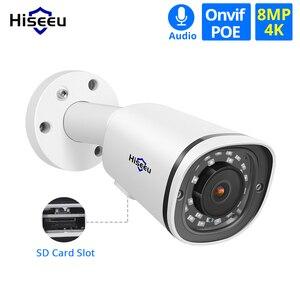 Камера видеонаблюдения Hiseeu H.265, металлическая Водонепроницаемая камера с разъемом для карты, 4K, 8 Мп, POE, IP, ONVIF