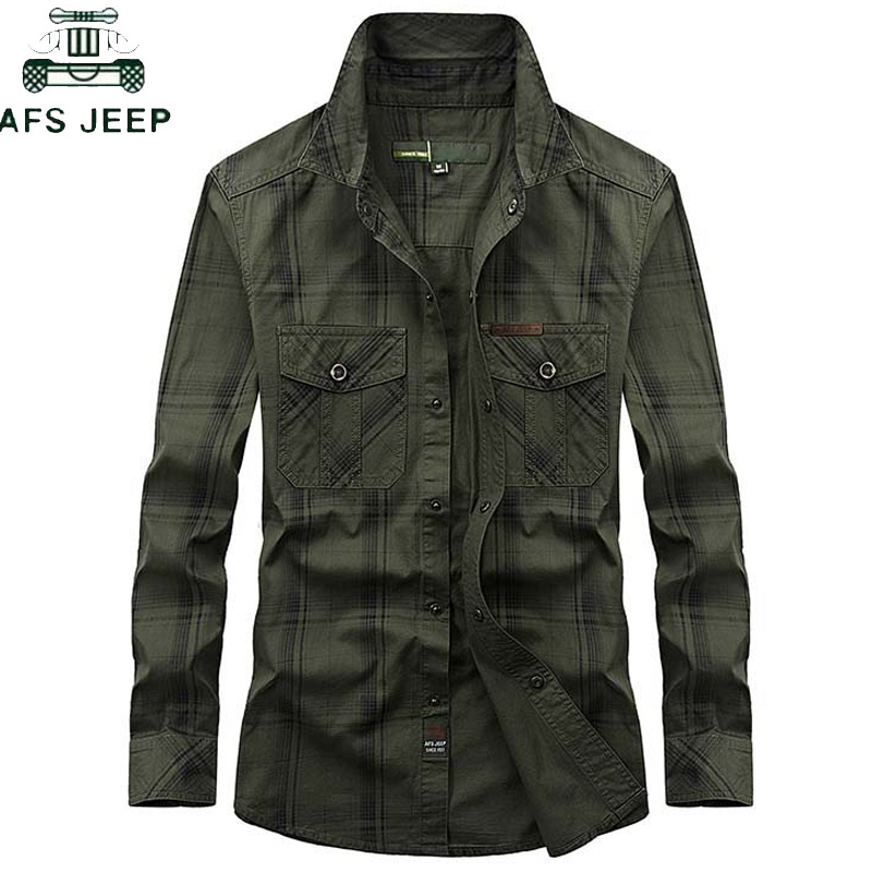 Brand Clothing Plaid Shirt Men Plus Size 5XL 2019 Summer Cotton Long-sleeved Camisa masculina Military Mens shirts Chemise homme