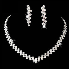 Sumptuous Hot Bridal Wedding Prom Jewelry Crystal Rhinestone Necklace & Earring Set For Women(China)