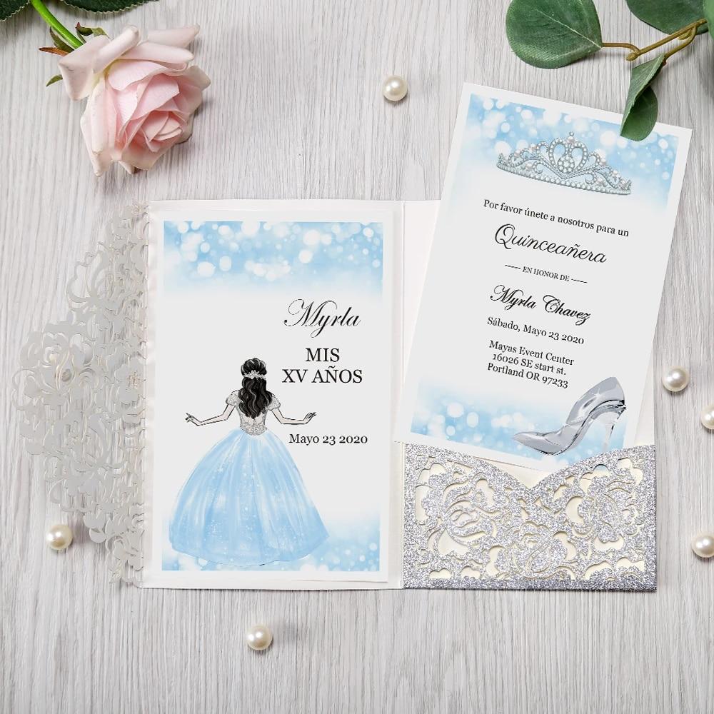 Wedding Congratulations Card blue with silver envelope