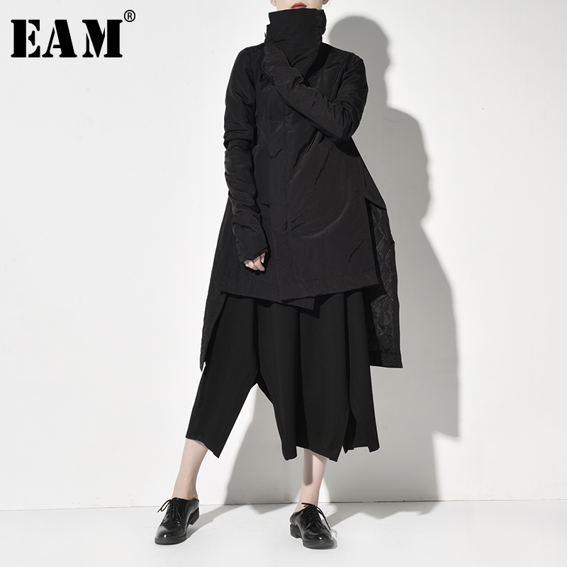 [EAM] Asymmetrical High Collar Cotton-padded Coat Long Sleeve Loose Fit Women   Parkas   Fashion Tide New Autumn Winter 2019 YA7710